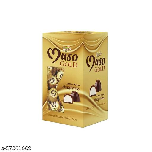 Tosca Muso Gold Chocolate- Gold Chocolate Truffles- Center Filled Milk Chocolate (60 pcs in a Box)