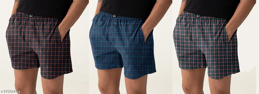 HORSE&RIDE MENS CHECKED BOXER SHORTS(Multicolor, pack of 3)