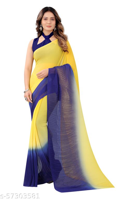 New Women's Fashion Dual Colored Georgette Saree with Blouse Piece