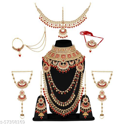 Glorycore Jewellery Ethnic Copper Finish Bridal Alloy Gold Plated Dulhan Shadi Jewellery Set for Girls & Women