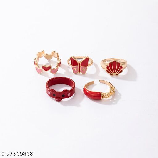Destiny Jewel's  Set of 6Pcs Silver Pladed fashion Red Decor Ring For Womens & Girls