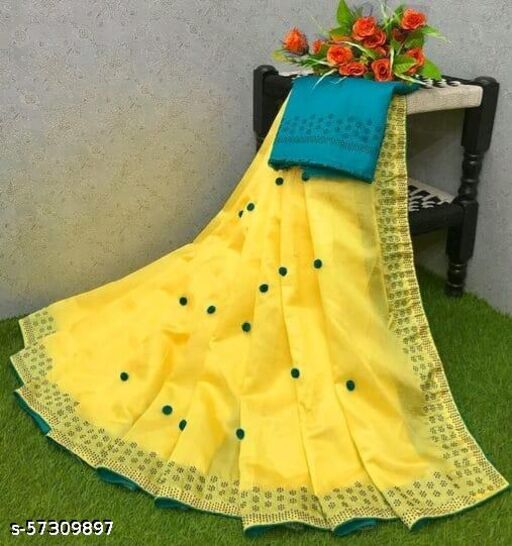 KK Designer Paper Silk Saree With Pom Pom Work