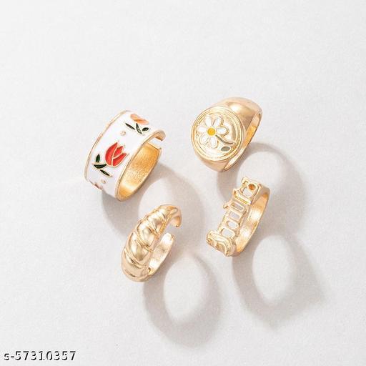 Destiny Jewel's  Combo of  4 Pcs Gold Plated Stylish Finger Rings For Women & Girl