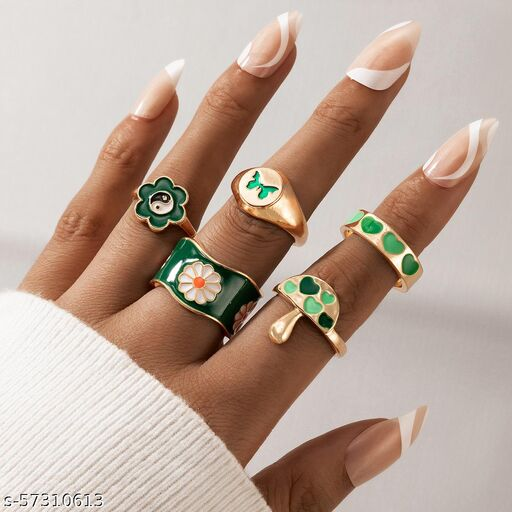 Destiny Jewel's  Combo of  5 Pcs Silver Plated Stylish Green Finger Rings For Women & Girl
