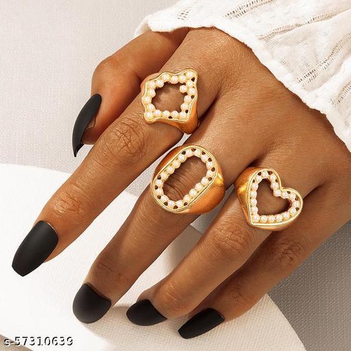 Destiny Jewel's  Combo of  3 Pcs Gold Plated Stylish Finger Rings For Women & Girl