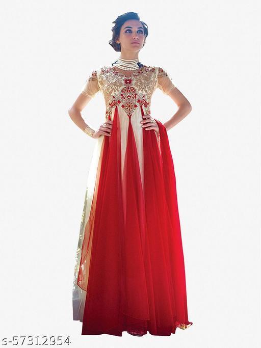 Designer Gowns!:atisundar Attractive Net Designer Partywear Gowns in Red And White