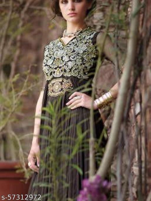 Designer Gowns!:atisundar Smart Net Designer Partywear Gowns in Black