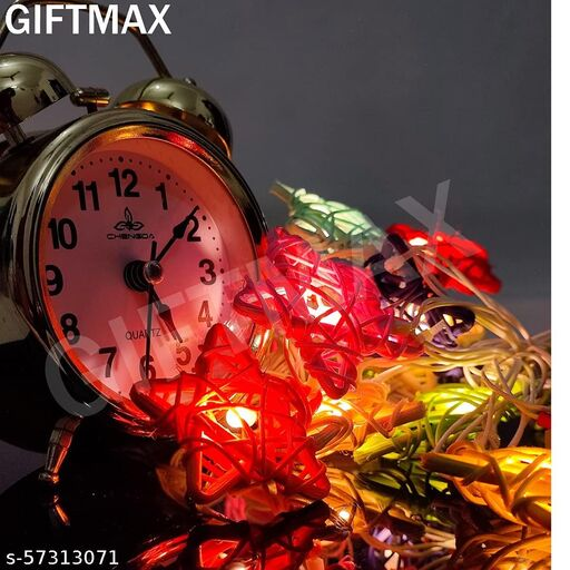 GiftMax® Rattan Star Shape String Lights Series 16 Stars Home Decoration Light Mixed Color Festival Lamp (LADI) (Multicolor Star Shape String Light)