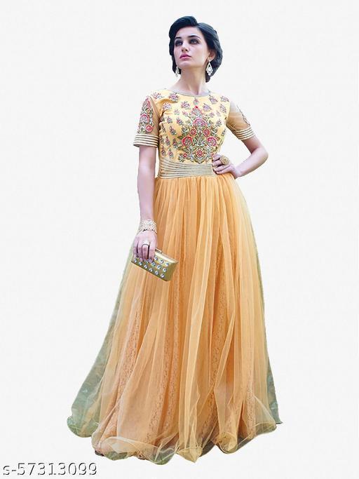 Designer Gowns!:atisundar magnificent Net Designer Partywear Gowns in Cream