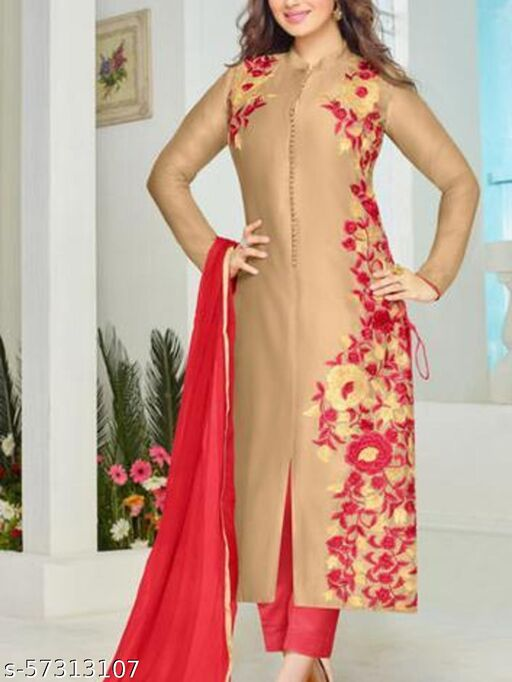 The Ayesha Takia Collection:atisundar Charismatic Beige Embroidered Designer Straight Cuts in Cambric Cotton Featuring Ayesha Takia - 10125_40_3018
