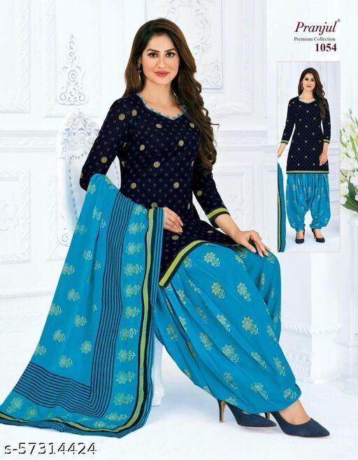 Casual Wear Navy Blue Color Pure Cotton printed Dress Material And Salwar Suit For Women And Girl's