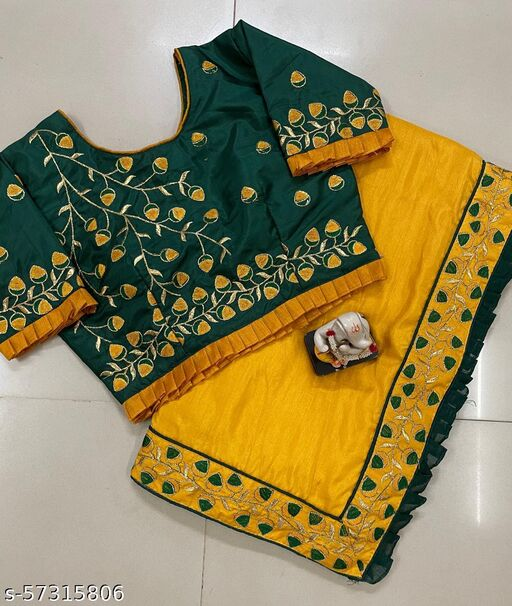 Designer Saree With Original Embrodaried Work And Full Stitched Blouse