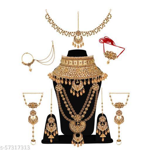 Glorycore Indian Traditional Ethnic Gold Plated Wedding Bridal Dulhan Choker Necklace Matha Patti Maang Tikka Haath Phool Nath Jewellery Set for Women