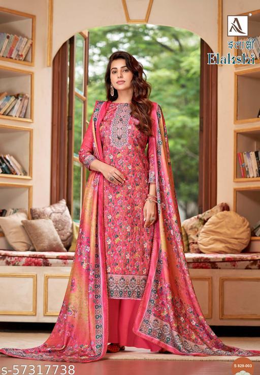 ELAKSHI Wool Pashmina Designer Printed Dress Materials by Alok Suit