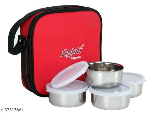 arythe Premium Quality Square 4 Containers Tiffin Box for School, Office, College Lunch Boxes
