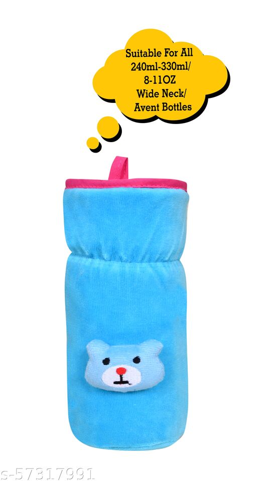 THE LITTLE LOOKERS Bottle Cover for Philips Avent/Wide Neck Feeders Soft Plush Stretchable Baby Feeding Bottle Cover with Easy to Hold Strap (Blue, Wide Neck 240-330ml/8-11OZ)