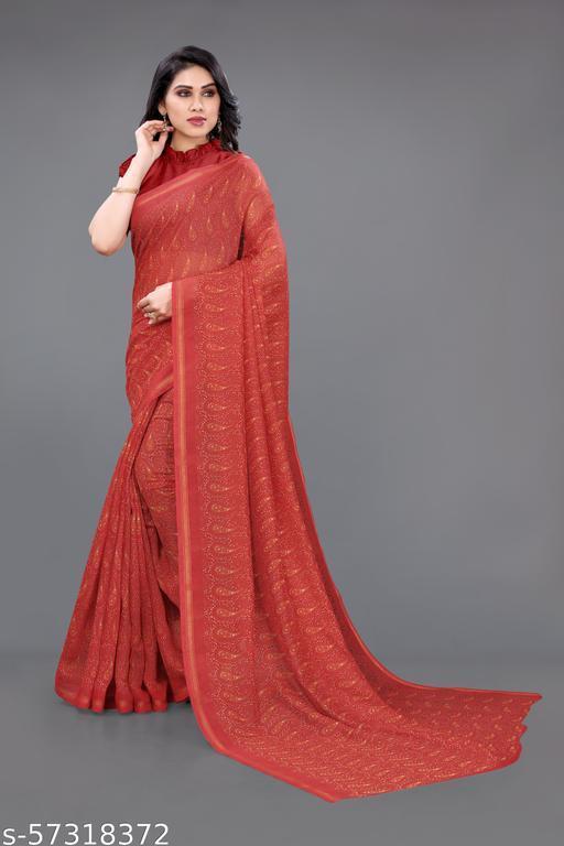 Sourbh Fashion Cotton Blend Paisley Print Zari Bordered Saree With Unstitched Blouse Piece.
