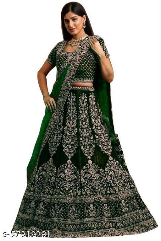 Fancy Velvet Lehenga designer latest outfit (Pack Of 1,Green)