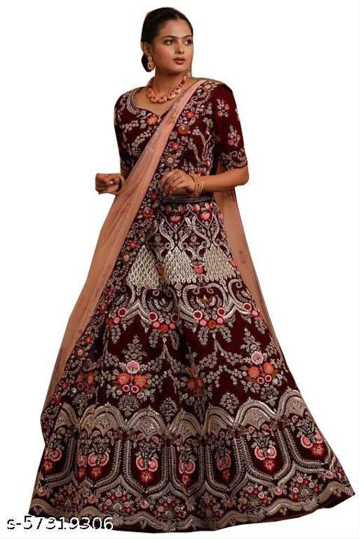 Fancy Velvet Lehenga designer latest outfit (Pack Of 1, Maroon)