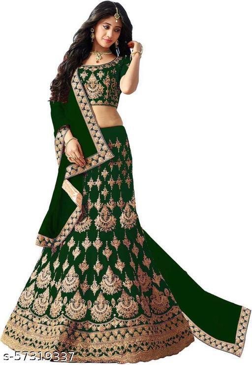 Fancy Silk Lehenga designer latest outfit (Pack Of 1, Green)