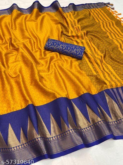 Trendy New Indian Designer Soft Silk saree with tussels and and fancy blouse piece