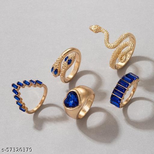 Destiny Jewel's  Set of 6Pcs Gold Plated Rhinestone Decor Serpentine Decor Ring For Womens & Girls