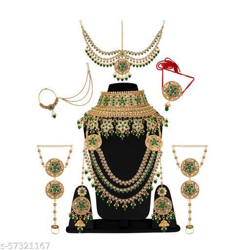 Glorycore Gold Plated Rani Padmavati Dulhan Bridal Jewellery Set with Choker Necklace Indian Jewellery Set