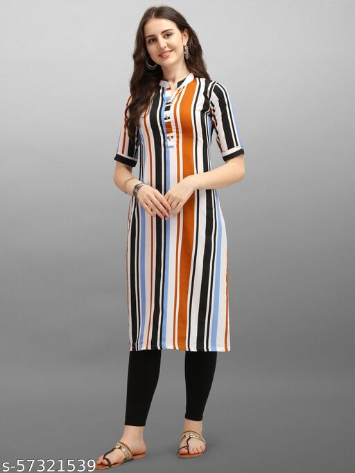 Trendy Printed Striped Pattern crepe stitched kurti for Women/Girls