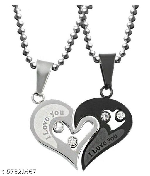 Stylish Valentine Special Heart Shape Pendant For Couples(Black)