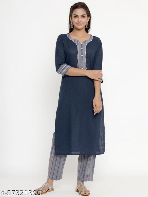 Doriyaan womens pure cotton printed straight kurta And palazzo set   Kurta Sets