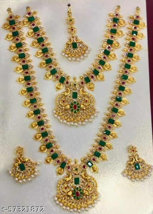 Gold plated green AD stone bridal  jewellery set