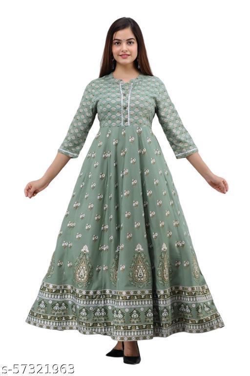 Shagunas   Printed Full Length  Pure Rayon  Premium Quality  3/4 Sleeves  Gown