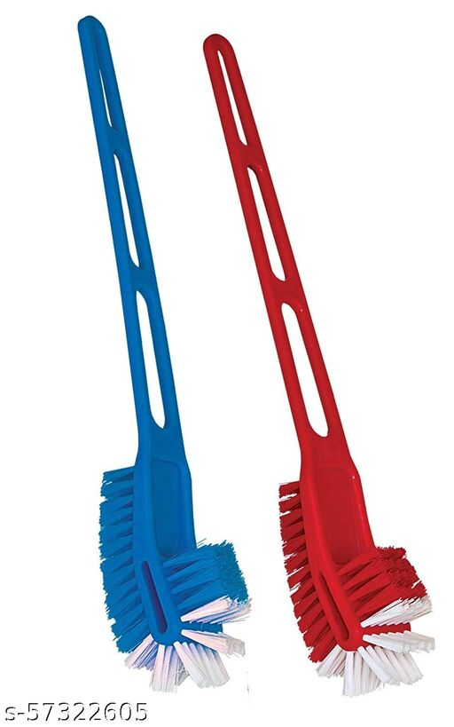 KWEL Double Side Normal Bristles Toilet Brush, Multi Color (Pack of 2)