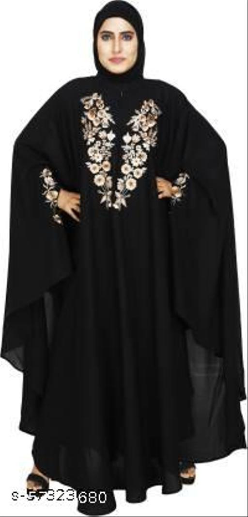 MONATI Stylish Designer Black Kaftan Abaya With Chicken Embroidery Work Free Size Crepe Georgette Solid Abaya  (Black)