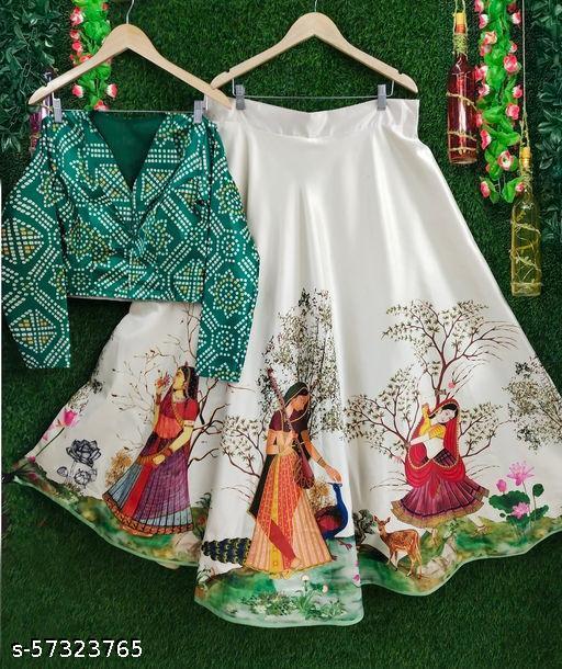 Cream & Green (Panihari) Multicolor Printed Semi-Stitched  Lehenga With Printed (Bandhani) Choli With 1Mtr. Length