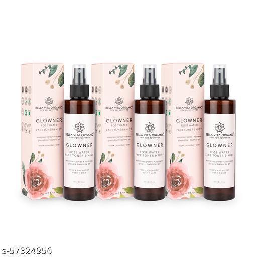 Bella Vita Organic Glowner Rose Water Face Toner & Mist - Natural Toner Spray for Glowing Skin for All Skin Type - 200 ml (Pack of 3)