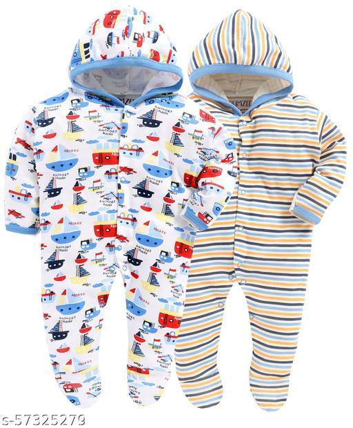 Bumzee Blue Boys Full Sleeve Printed Sleepsuit With Hood Pack Of 2