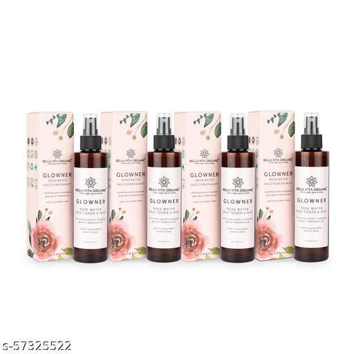 Bella Vita Organic Glowner Rose Water Face Toner & Mist - Natural Toner Spray for Glowing Skin for All Skin Type - 200 ml (Pack of 4)
