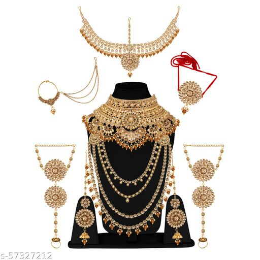 Glorycore Jewellery Bridal Dulhan Alloy Gold Plated Jewellery Set for Girls & Women