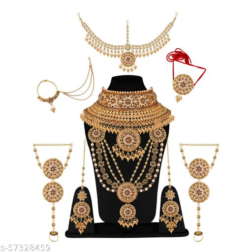 Glorycore Jewellery Bridal Dulhan Designer Light Green Color Kundan Stone Wedding Set 8 pcs. for Girls & Women