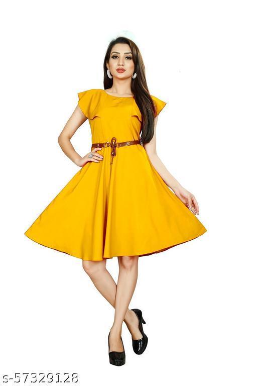 SANGAM ENTERPRISE Women Skater yellow  Dress