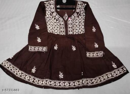 Short top  Cotton fabric With ghaspatti chikankari embroidered Unique look with yog dori