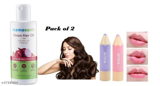 Mamaearth Onion Hair Oil For Hair Fall Control&Lipblam Special Care For Dry Lips (Pack of 2)