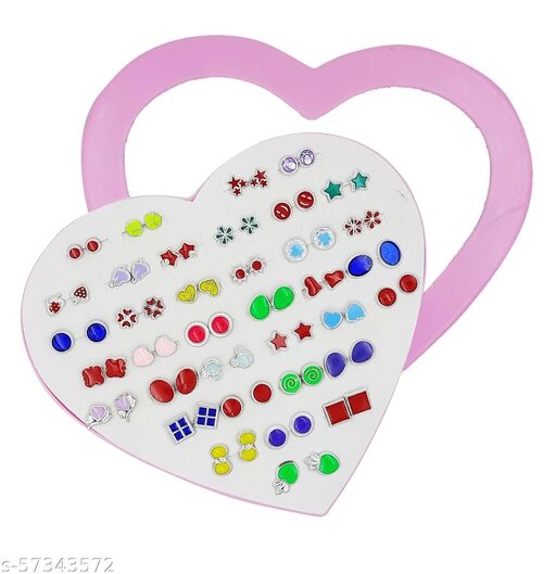 Karki Fusion Combo of 36 Pair of Stud Earrings in Heart Box (Colorful Silver)