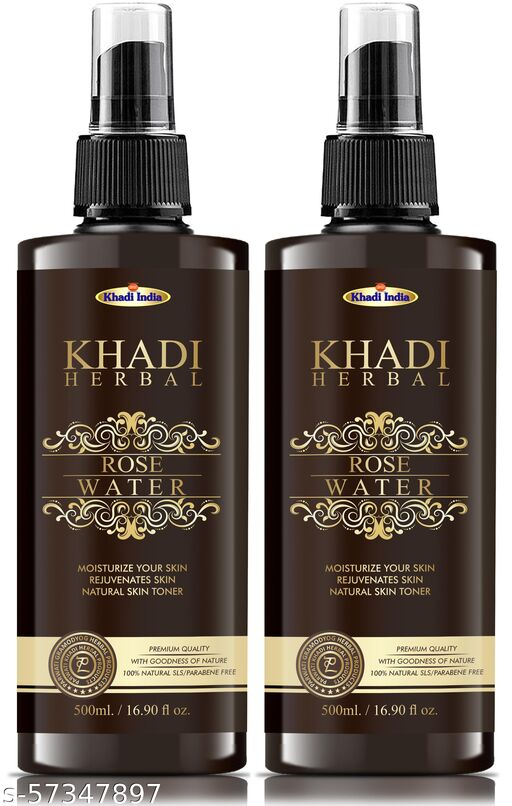 Parwati Khadi Herbal 100% Pure & Natural Rose Water Toners  - For Skin, Face 500 ml ( Pack Of 2 )