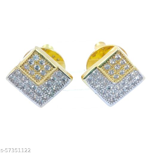 Mayur Rhodium 2 Tone Gold Plating American Diamond Squre Tops Stud Earring, White