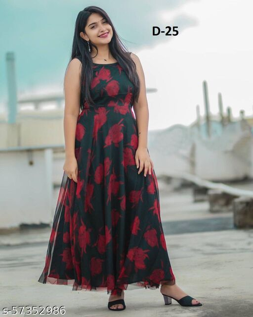 Gorgeous Sleeveless Digital Printed Faux Georgette Maxi Gown