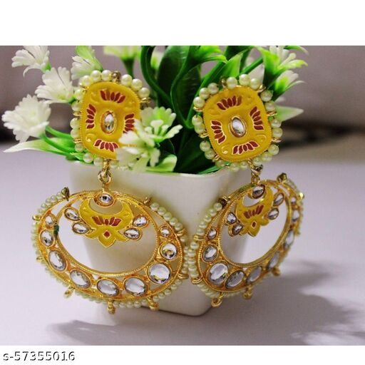 Enamelled Kundan Earrings