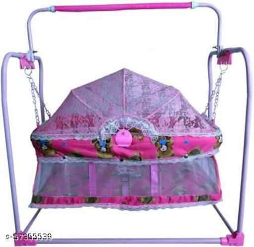 Baby Swing Cradle Jhula with Mosquito Net for New Born Baby Bassinet (Pink)