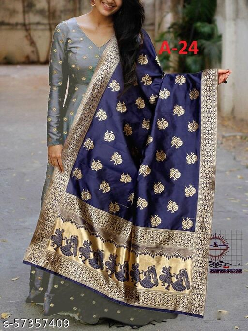 Designer Grey colored Tapeta satin Gowns with jacquard work Dupatta
